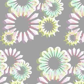 Aqua Blooms Grey