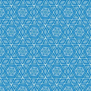 Sketchy Hexagons White on Blue