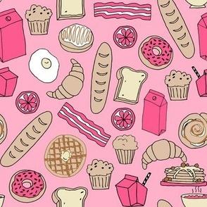 brunch // breakfast brunch pink food breakfast donuts french toast baguette pastry pastries food junk food andrea lauren