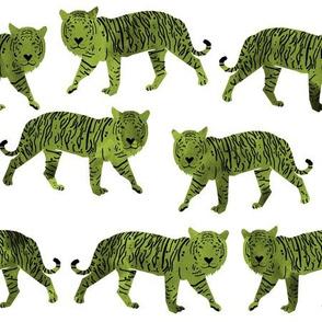 tigers // watercolor green tiger boys nursery baby green tiger