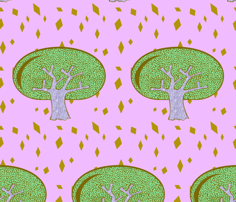 The Song Tree Pink fabric by abbieuproot on Spoonflower - custom fabric