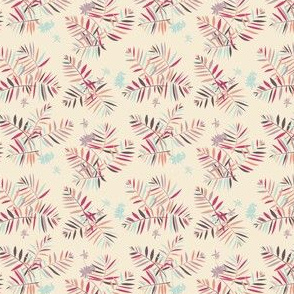 Tropical palm leaves in vintage colors