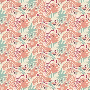 Tropical leaves in vintage pink colors