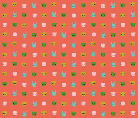 Folk Flowers Animals Faces fabric by zoe_ingram on Spoonflower - custom fabric