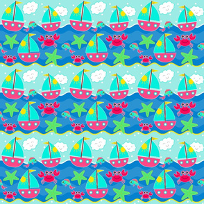 _TK-Sailboats_Waves Crabs Starfish PINK-Teal