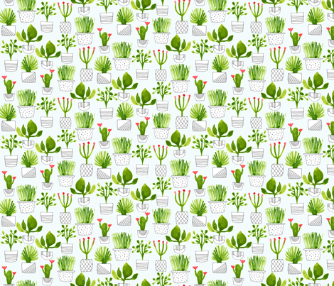 Little Green Plants fabric by zoe_ingram on Spoonflower - custom fabric