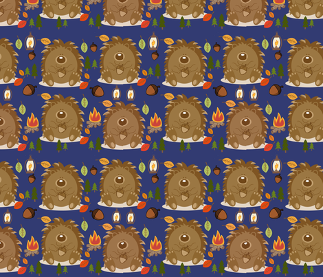 Chubby The Hedgehogs camping trip! fabric by floramoon on Spoonflower - custom fabric