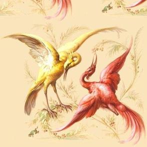 birds cranes storks herons egrets leaves leaf floral berry berries cherry cherries vintage red yellow oriental asian