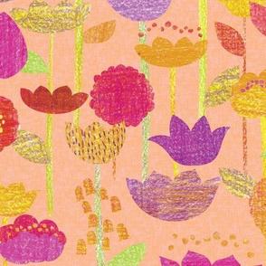 Crayon Garden on Pink