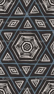 Sketchy Hexagons Gray Blue White