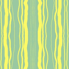 Yellow Stripes on Soft Green