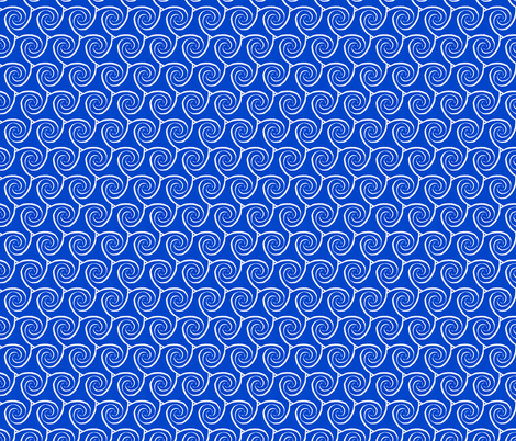 Spiral Triangles Cobalt Large fabric by jaylinn on Spoonflower - custom fabric