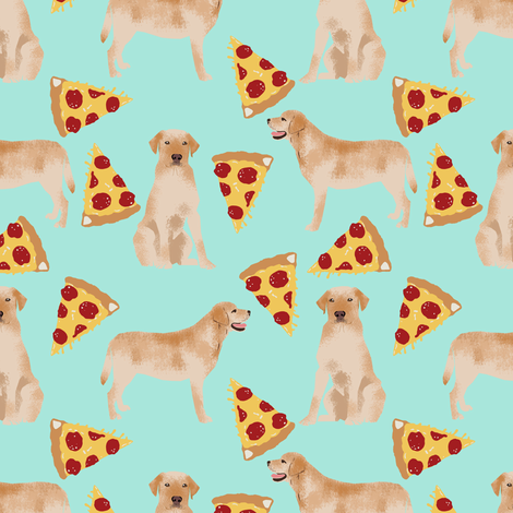 labrador pizza fabric golden yellow lab fabric yellow lab fabric pizza fabric cute dog breed fabrics fabric by petfriendly on Spoonflower - custom fabric