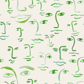 green faces