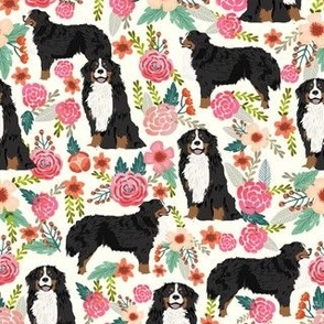 bernese mountain dog florals dog flowers cute dog design sweet florals best dog flower fabrics dog fabric bernese mountain dog fabric
