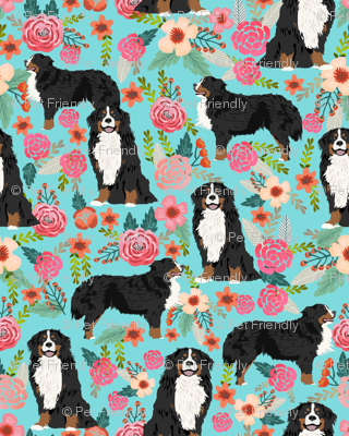 bernese mountain dog florals dog fabric dog breed fabric cute dogs best bernese moutain dog design