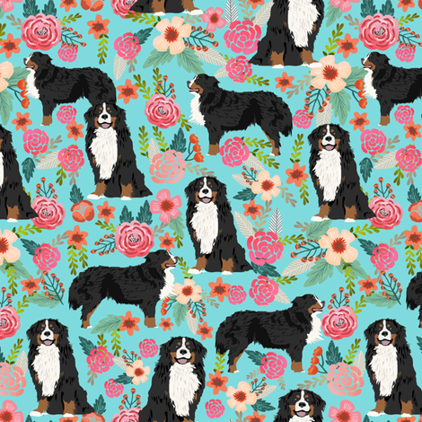 Good Bernese Mountain Dog Chubby Adorable Dog - rbmd_floral_turq_shop_preview  Snapshot_676817  .png