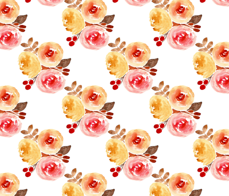 bright watercolor floral bouquet fabric by smallhoursshop on Spoonflower - custom fabric