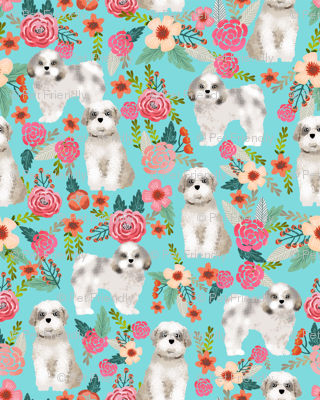 shih tzu florals dog fabric dog breed floral design turquoise girly florals flowers cute dog