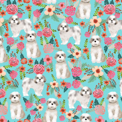 shih tzu florals dog fabric dog breed floral design turquoise girly florals flowers cute dog fabric by petfriendly on Spoonflower - custom fabric