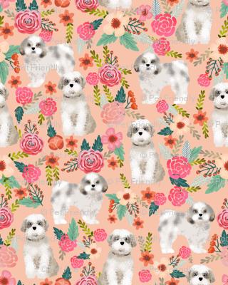 shih tzu florals peach pink girls sweet pet dog dogs fabric dog breed shih tzu fabric