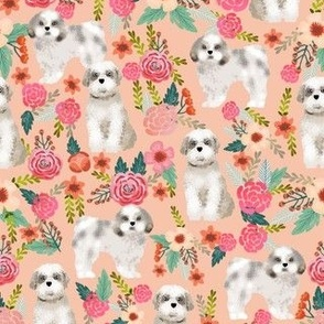 shih tzu florals peach pink girls sweet pet dog dogs fabric dog breed shih tzu fabric