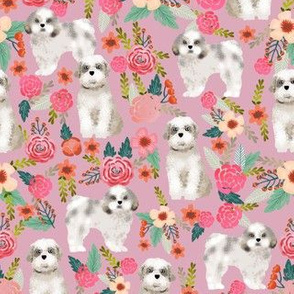 shih tzu florals purple fabric flowers floral design sweet pet dogs fabric for shih tzu owners