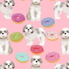 shih tzu donut fabric cute dog fabric sweet shih tzu design pink donuts adorable dog fabric girls sweet dogs and donuts fabric