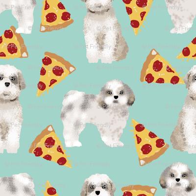shih tzu dog funny pizza fabric best shih tzu fabric cute shih tzu pattern design mint pizza