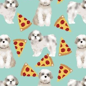 shih tzu dog funny pizza fabric best shih tzu fabric cute shih tzu pattern design mint pizza