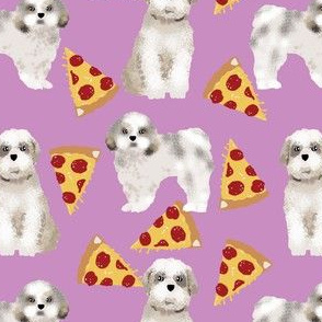 shih tzu purple pizza fabric cute shih tzu fabric funny shih tzu design shih tzu dogs fabric