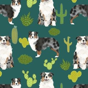 australian shepherds dog cactus cacti fabric aussie dog dogs fabric