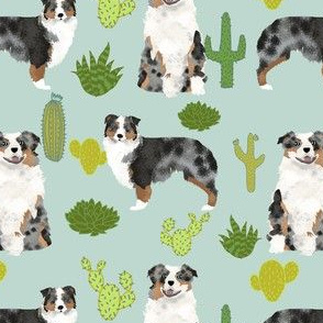 australian shepherds mint cactus cacti fabric cute dog fabrics australian shepherds dog fabric