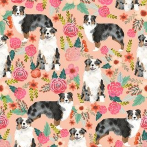 australian shepherd florals peach girls sweet florals flowers peach flowers aussie dog fabric australian shepherds fabric