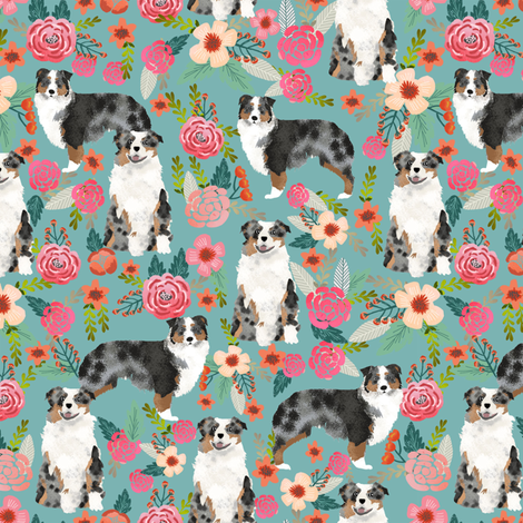 australian shepherd florals blue florals flowers cute girls aussie dog fabric australian shepherds fabric by petfriendly on Spoonflower - custom fabric