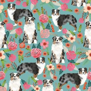 australian shepherd florals blue florals flowers cute girls aussie dog fabric australian shepherds