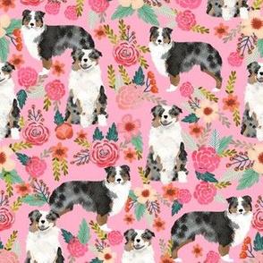 australian shepherds dog breed fabric pink florals flowers cute dog fabrics sweet dog