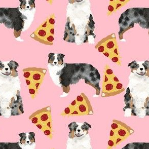 australian shepherd pink pizza fabric cute funny dog fabric cute aussie dog fabric pizza fabrics