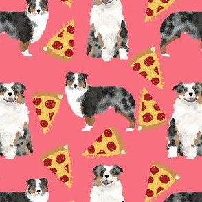 australian shepherd fabric coral pink pizza fabric cute aussie dog pizza fabric blue merle aussie fabric