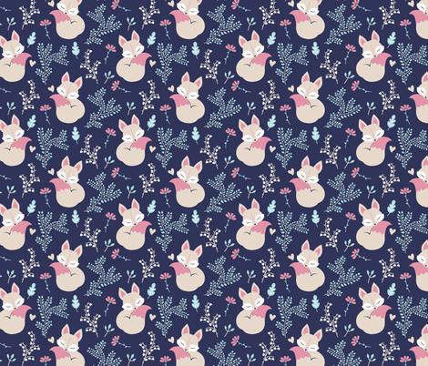 Sleeping Fox - close together - navy fabric by ewa_brzozowska on Spoonflower - custom fabric