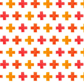 crayon crosses (red-orange)