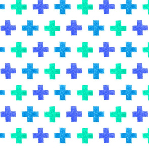 crayon crosses (blue-aqua)