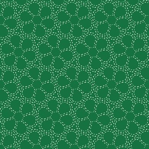 Stitched Flowers (sashiko) Green