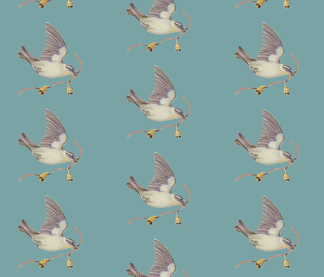 Bird and Bell_blue fabric by jenoiserie on Spoonflower - custom fabric