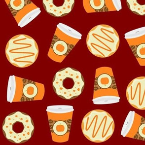 pumpkin spice latte coffee and donut / maroon orange and cream