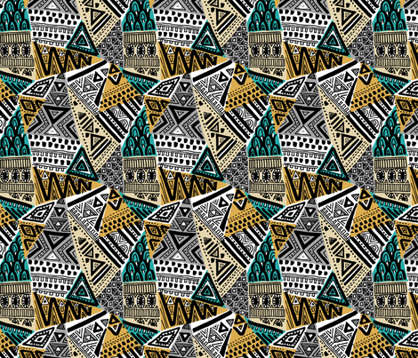 tribal triangles fabric by laura_may_designs on Spoonflower - custom fabric