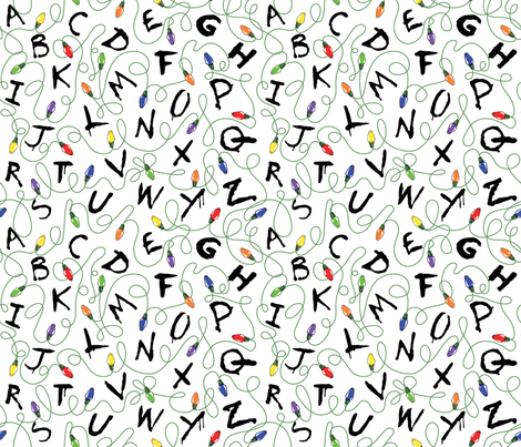 Alphabet with Lights on White fabric by tabpin on Spoonflower - custom fabric