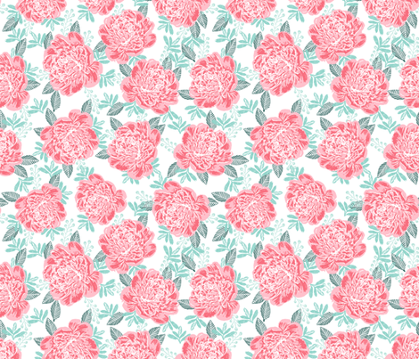 peonies peony painted florals flowers cute pink girls flowers baby nursery peony fabric for baby fabric by charlottewinter on Spoonflower - custom fabric