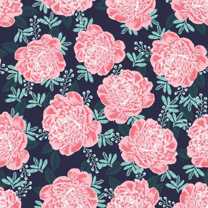 peony fabric print peony pattern girls florals navy and pink florals girls room les fleurs fabric painted flowers