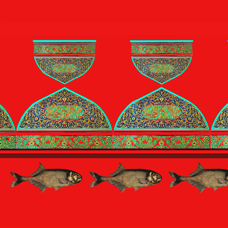 arabic cups with fish on red fabric by lbehrendtdesigns on Spoonflower - custom fabric